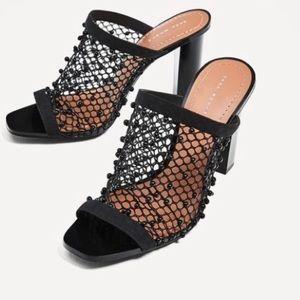 Zara Woman High Heel Black Beaded Mules
